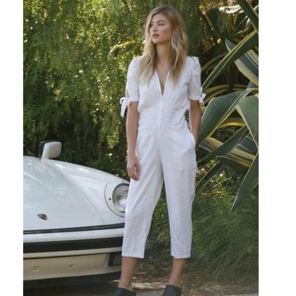 8cf61f5c3b7a Rue stiic linen white jumpsuit reformation style. M 5acd34e45512fd7cc1d4055d